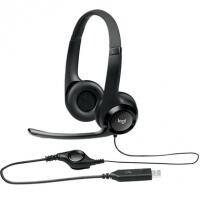 Headset Logitech H390 USB 2.0 Couro - Preto