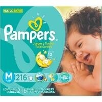 Fraldas Pampers Total Confort Ultra Plus M - 216un