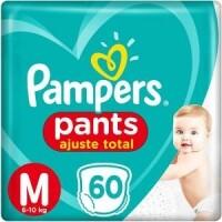 Fraldas Pampers Pants Ajuste Total M 6 a 10kg - 60un