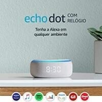Smart Speaker Amazon Echo Dot com relógio e Alexa